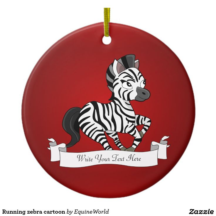 Running zebra cartoon Double-Sided ceramic round christmas ornament