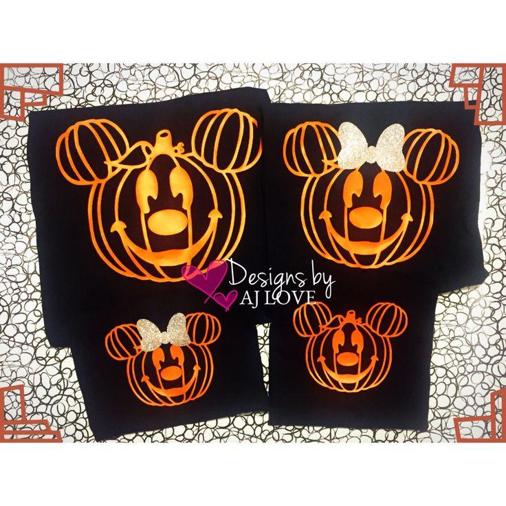 Family Disney Halloween Shirts -Mickey & Minnie pumkins **Listing Price is Per Shirt Per Size*** by DesignsbyAJLove on Etsy https://www.etsy.com/listing/483543285/family-disney-halloween-shirts-mickey