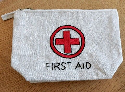 First aid bag now available in natural color too!! #handembroidery #firstaid #emergencykit