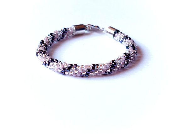 Beaded kumihimo bracelet with gunmetal light purple and