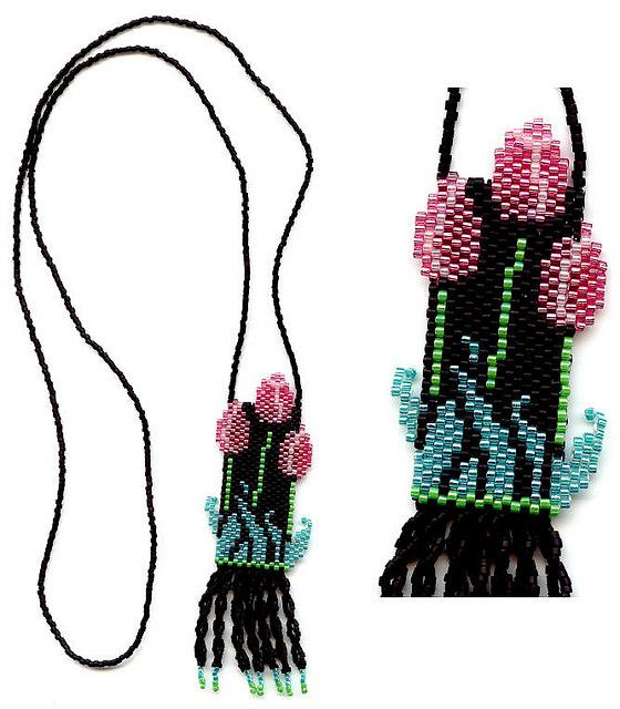 https://flic.kr/p/7KBfMA | Tulips beaded Necklace | This was made by me from a pattern created by Freda V Smith.