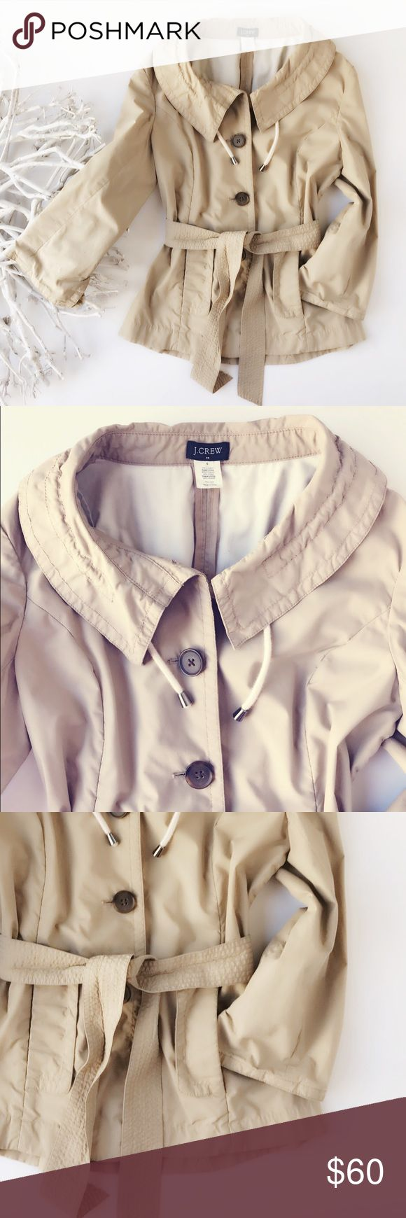 """J Crew utility field jacket womens size 6 SOLD OUT Like new. Flawless. SOLD OUT! J Crew women's utility field jacket. Drawstring collar and belted waist. Intriguing sleeve details. Armpit to armpit: 36"""" center back collar to hem 25"""" J. Crew Jackets & Coats Utility Jackets"""