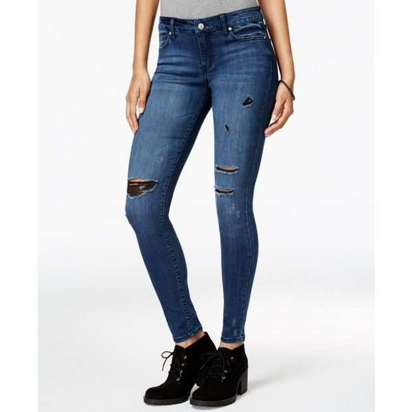 Celebrity Pink Juniors' Dawson Infinite Stretch Super-Skinny Ripped... ($30) ❤ liked on Polyvore featuring jeans, fake out, super stretchy skinny jeans, white distressed skinny jeans, white stretch skinny jeans, celebrity pink skinny jeans and super skinny jeans