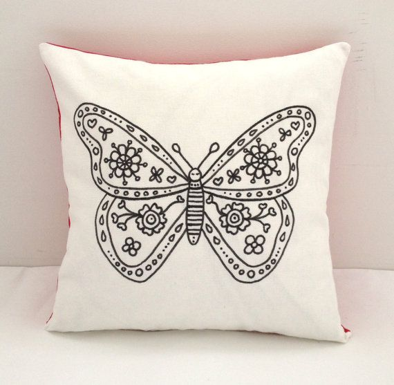Colouring In Butterfly Design Cushion Cover  by SimplyAddColour
