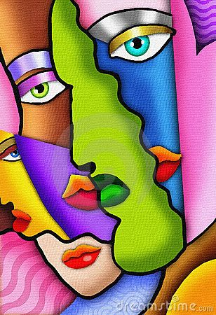 An abstract painting of female faces