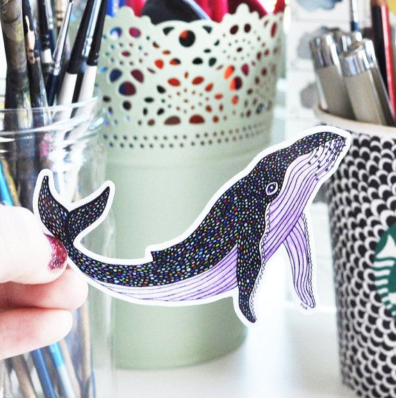 Vinyl Sticker Whale Animal Pattern by NicoleStefanieDesign on Etsy