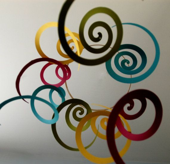 Art Mobile - Long colorful spirals mobile for Nursery Decoration or Home Decor, Girl or Boy, Baby or Kid. $28.00, via Etsy.
