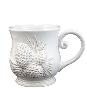 Holiday Inspirations White Pinecone Mug traditional-holiday-decorations