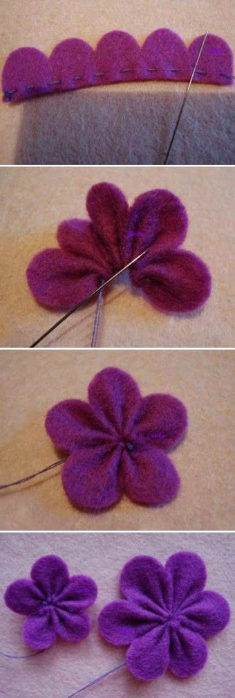 diy cute felt flowers purple clip tutorial with beads - headwear, felt flowers crafts - wow! ✥ these diy felt fabric flowers are awesome by honza1996