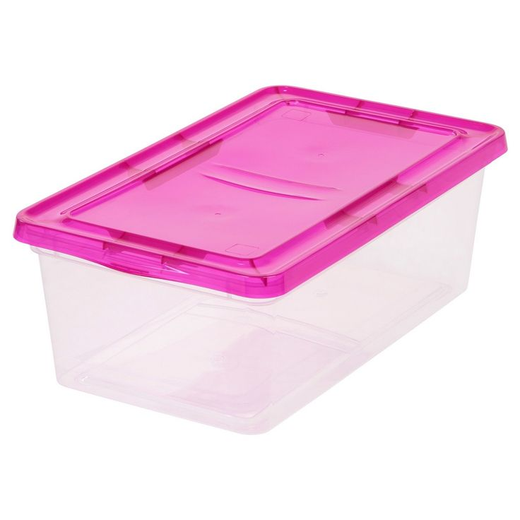Iris - 6 Qt Utility Storage Tubs And Totes - 6pk - Clear, Pink