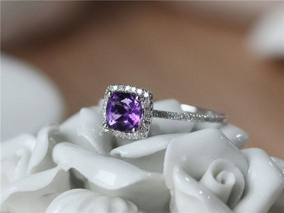 6mm Cushion Cut Amethyst Ring White Gold Amethyst Engagement Ring/Cushion Halo Engagement Ring/Amethyst Wedding Ring