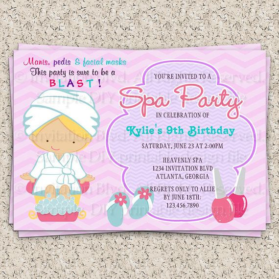 198 best images about Turning 10 girls – Girls Spa Party Invitations