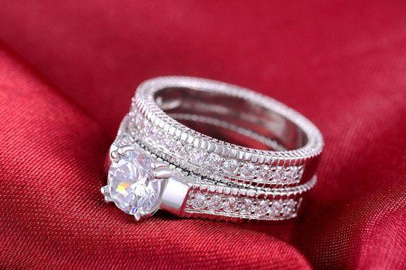 Wedding Ring Set Engagement Bridal Set Ring by DesignByIrenne