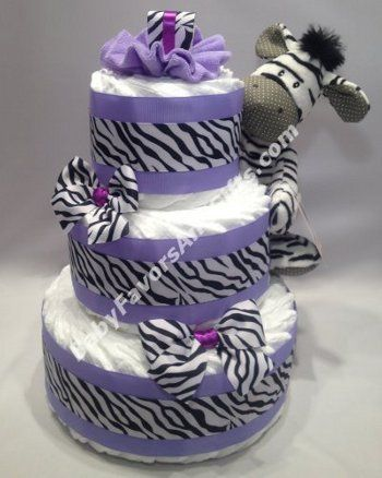 Purple Zebra Diaper Cake- THIS IS A MUST FOR THE BABY SHOWER @Brittany Danielle