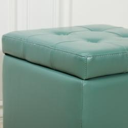 Stylish and practical, this storage ottoman features a rich seafoam green patent leather upholstery and a storage compartment. Dark brown legs highlight this ottoman.: Color