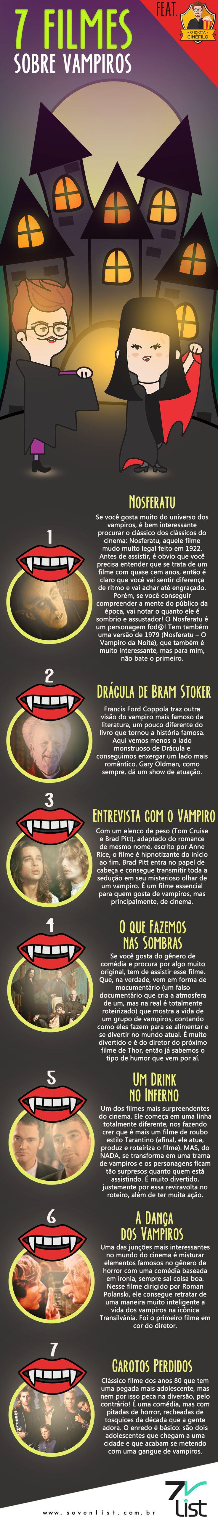 O mês de outubro já está acabando e nós aqui já entramos no clima do Halloween. Confira a lista que @oidiotacinefilo preparou com 7 filmes sobre vampiros. #sevenlist #Cine #Cinema #Film #Filmes #dicasdefilmes #Movies #vampires #halloween