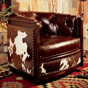 I'll take one of these next to the big fireplace: Westerns Furniture, Bunkhouse Ideas, Cowboy Leather Decor, Cowboy Westerns, Cows Hiding Chairs, Hair On Hiding Furniture, Dreams House, Cowhide, Leather Chairs