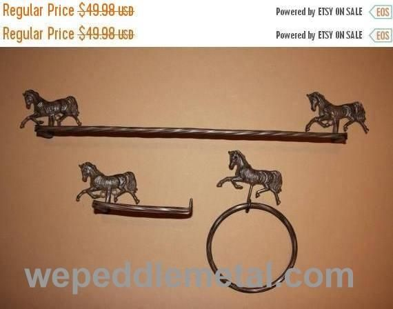 3) Rustic Country Western Horse Lover Collector Decorative Christmas Gift  Set, Horse Bath Accessory, Horse Towel Bar, TP Holder