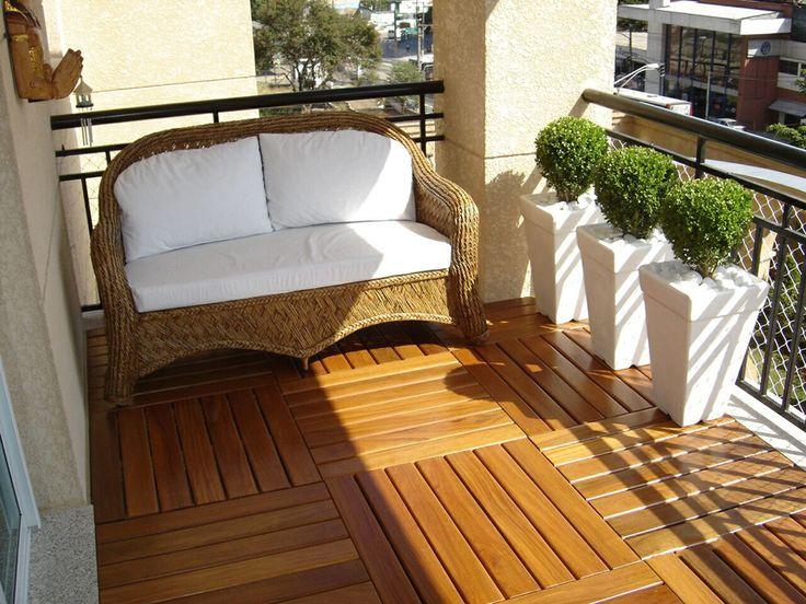 Deck de madeira modulado sacada