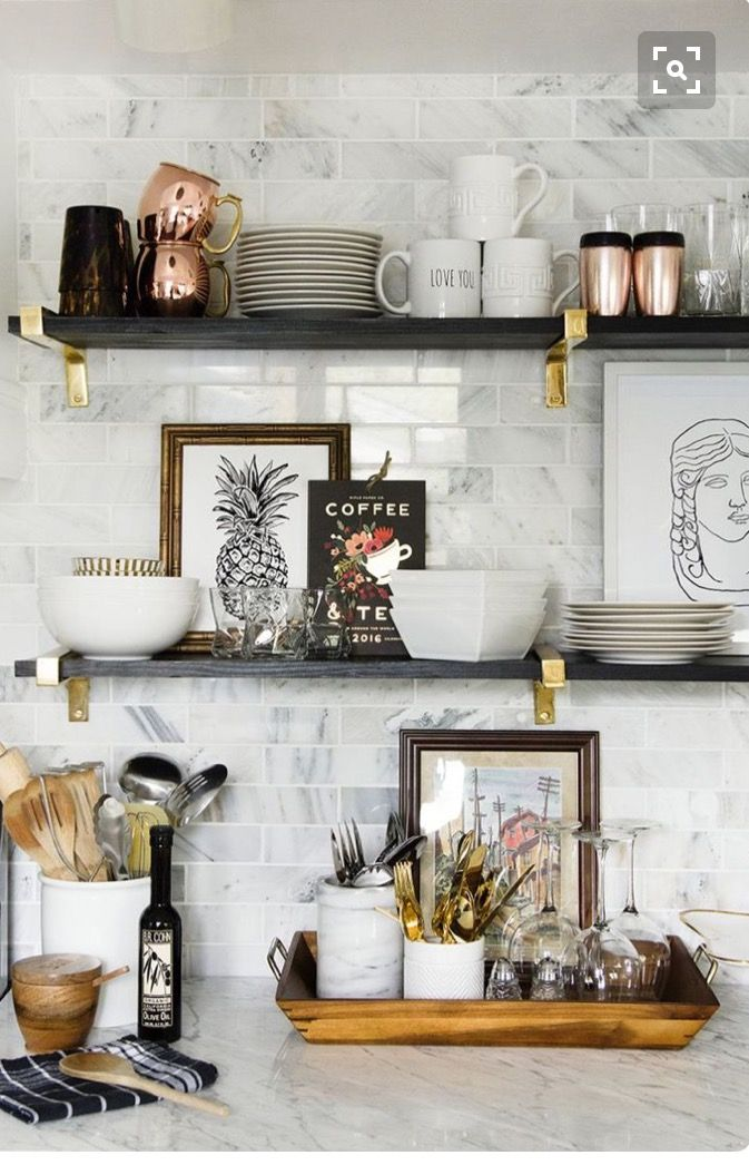 Love All Of These Frames Plants And Booking On The Shelving Backsplash Ideaseclectic Kitchenblack Kitchen Decorkitchen