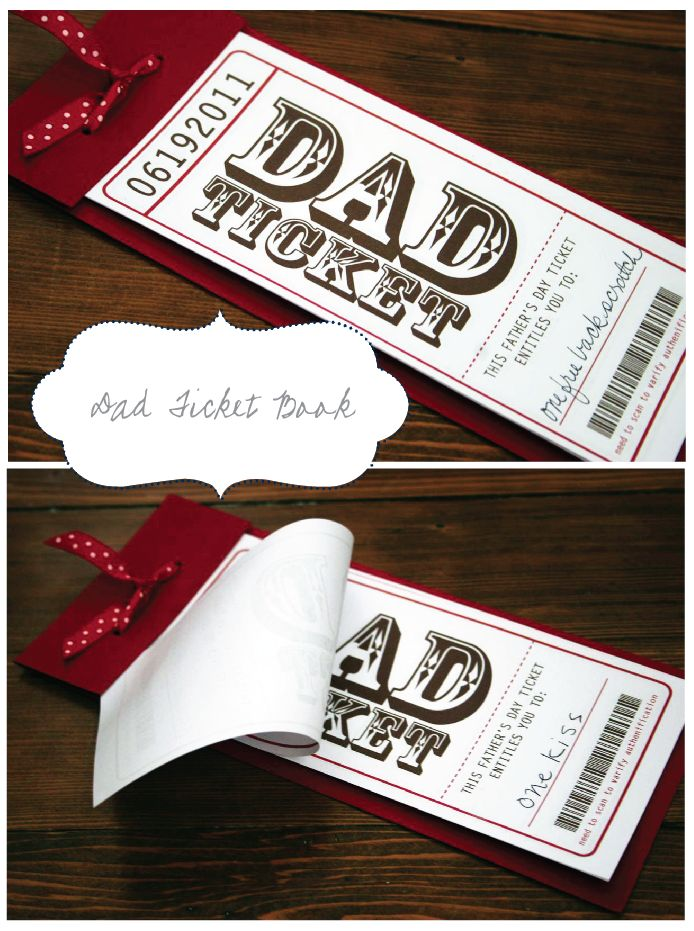 Cute! Although the date is for 2011, I had kids write what each ticket was fr and I laminated them lol, dad loved them!