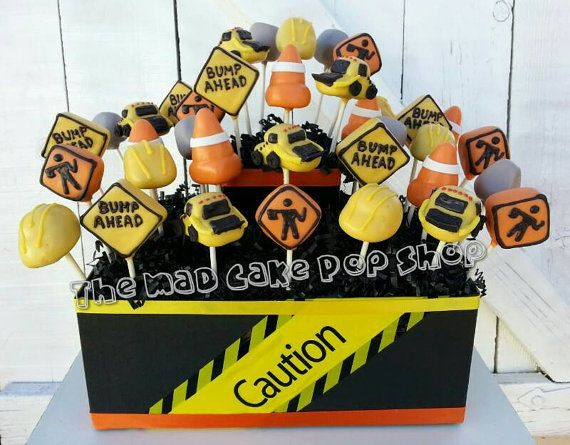 Presenting three dozen (36) of our adorable Construction Cake Pops INCLUDING the display container they are shown in. . Each one is hand