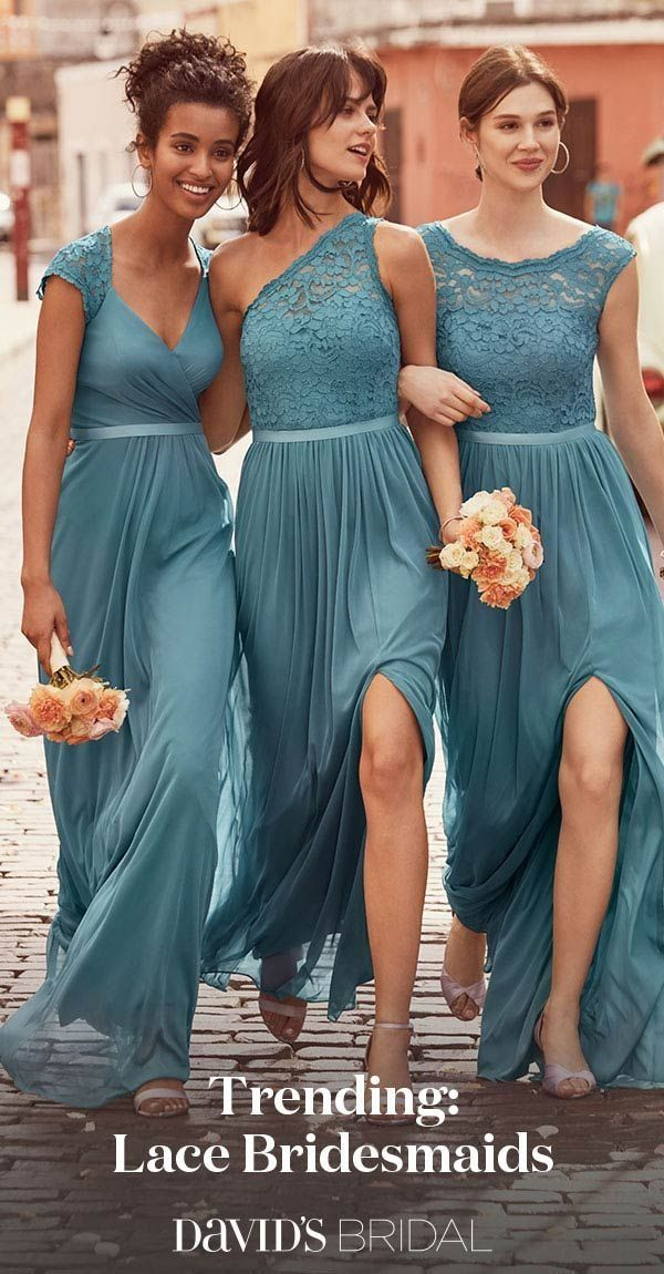 A touch of lace gives bridesmaid dresses gorgeous texture. Visit David's Bridal to put together the party you're envisioning.