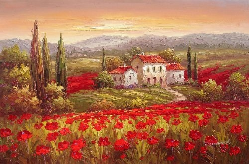 Modern Oil Painting On Canvas Wall Art Home Decoration Italian Tuscany Red Poppy Flower Field Vineyard 20 X 24 Inch By Galleryworldwide Http