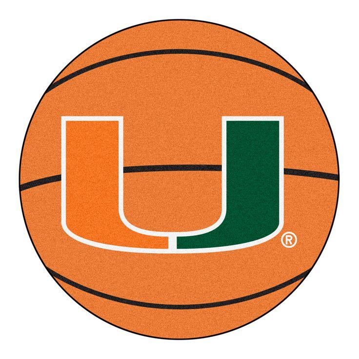 Miami Hurricanes NCAA Basketball Round Floor Mat (29) U Logo