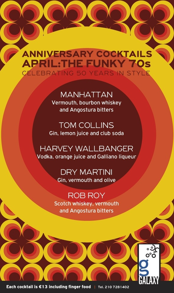 Anniversary Cocktails of the Month: April The Funky 70's!