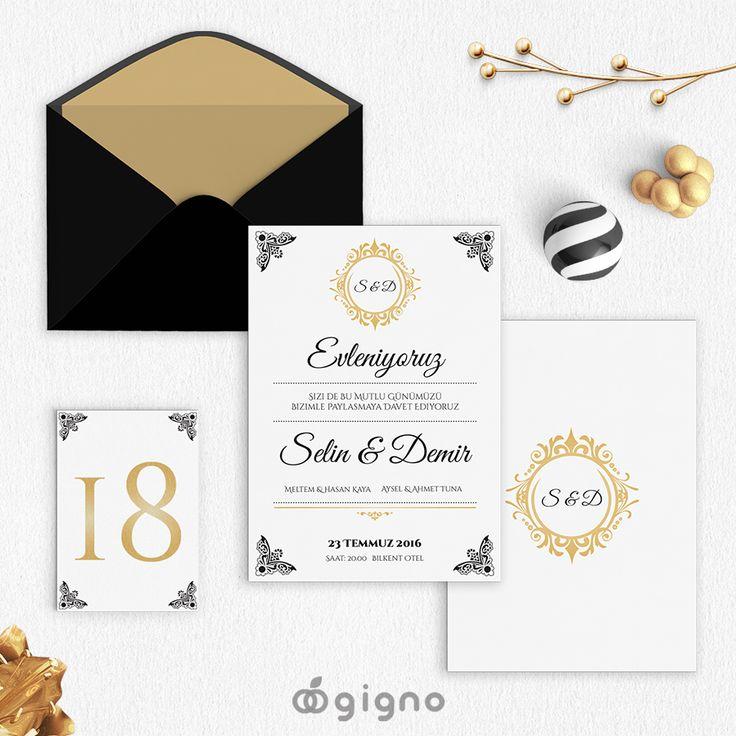 Klasik sevenlere... Gold düğün davetiyesi...