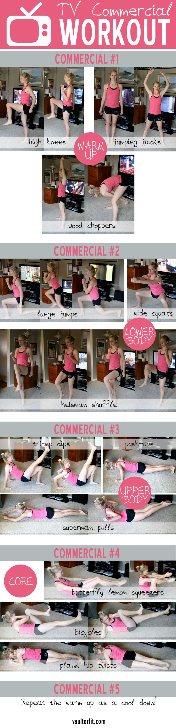 Make the most out of your TV time! This is a fun workout that can be done during the commercials of your favorite shows