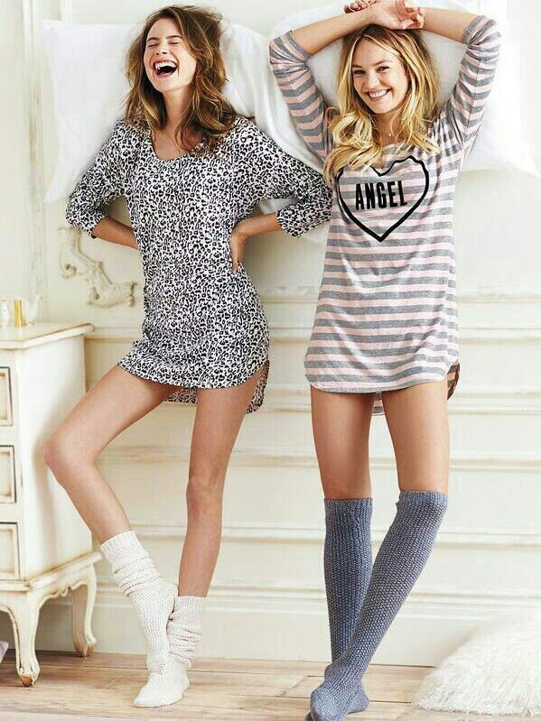 Candice Swanepoel - Victoria's Secret pajamas and socks