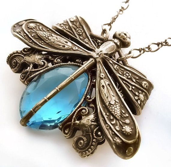 Dragonfly necklace,  antique brass dragonfly jewelry, dragonfly pendant necklace, aquamarine necklace, aqua blue jewelry, filigree necklace