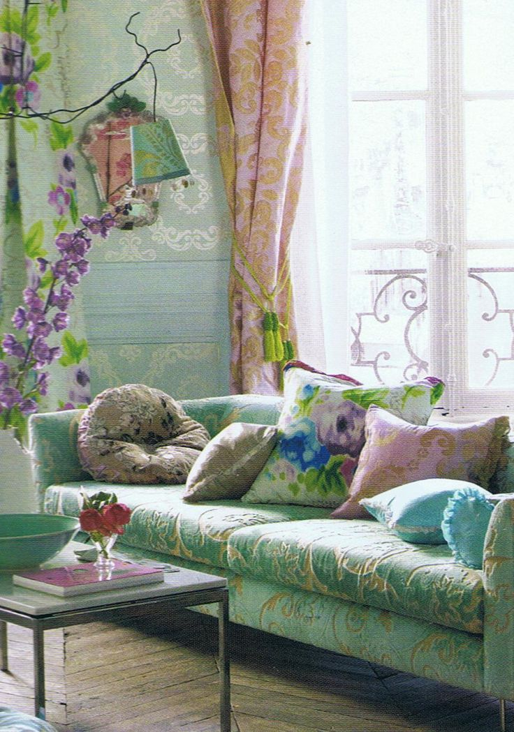 Tricia Guild living room decor, with a beautiful bohemian, romantic ambiance.