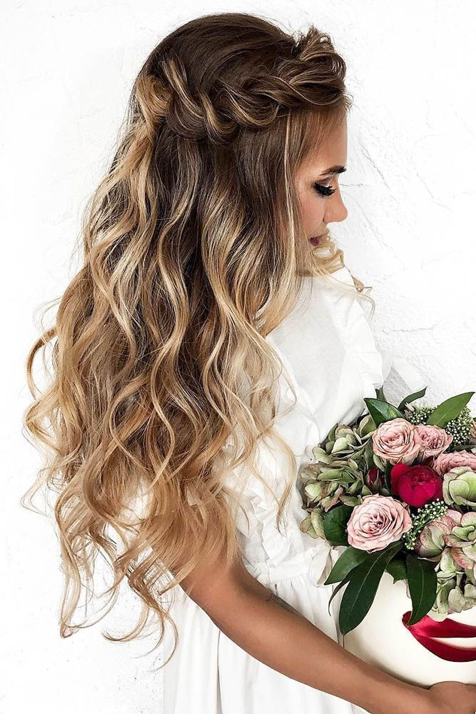 33 Wedding Hairstyles With Hair Down Wedding Hairstyles Down Haalf Up Twisted Long Hair Dyadkinaira Wed Hair Styles Long Hair Styles Wedding Hair And Makeup