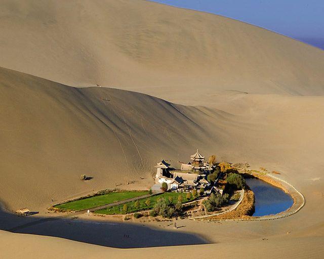 Crescent Lake [月牙泉], Dunhuang, Gansu, China http://en.wikipedia.org/wiki/Crescent_Lake_(Dunhuang)