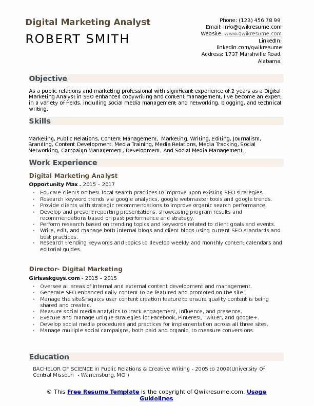 Digital Marketing Resume Sample Luxury Digital Marketing Analyst Resume Samples Marketing Resume Job Resume Examples Good Resume Examples