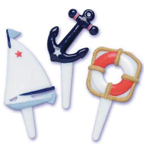 24 Nautical Cupcake Picks Cake Toppers by CakeAndCandyDreams