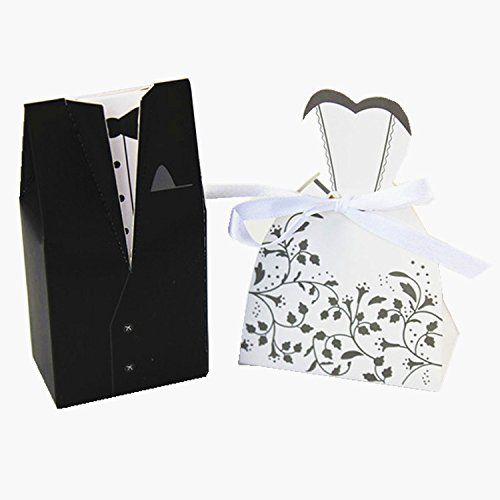 BuyHere The Tuxedo Bride and Groom Wedding Gift Paper Boxes, Pack of 100 pairs of Bride and Groom
