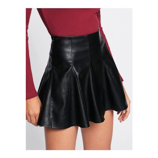 24504595a6 Faux Leather Flare Skirt -SheIn(Sheinside) ($4.01) ❤ liked on Polyvore  featuring skirts, circle skirts, leather look skirt, faux leather skater  skirt, faux ...