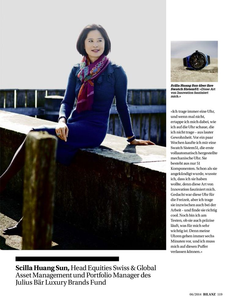 """Even high finance wears Roberta Redaelli!  Our wonderful customer Scilla Huang Sun, posing with one of our dresses to the Swiss financial newspaper """"Bilanz""""!  #finance #dress #woman #customer #bilanz #swiss #finanza #shooting #aboutus #ourdress"""