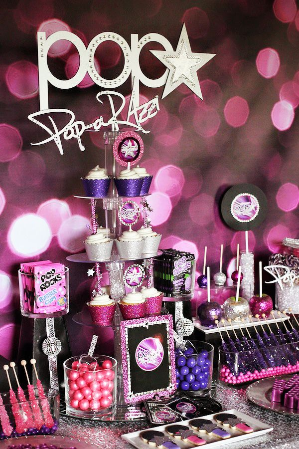 POP-arazzi Dessert Bar with Purple Bokeh vinyl backdrop from Bubblegum Backdrops @nee Backdrops - wooden cut out from www.ten23designs.com