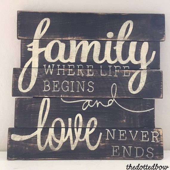 Distressed 17x18 wood pallet sign with family where life begins and love never ends You may custom order stain and paint colors.
