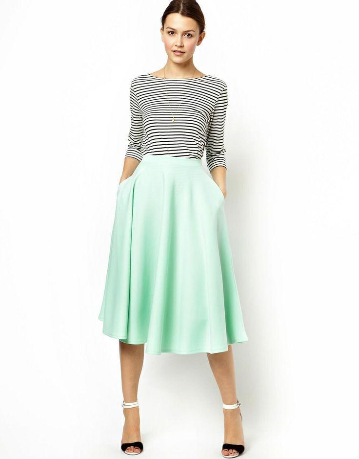how to wear midi skirt: stripes n strappy sandaled heels