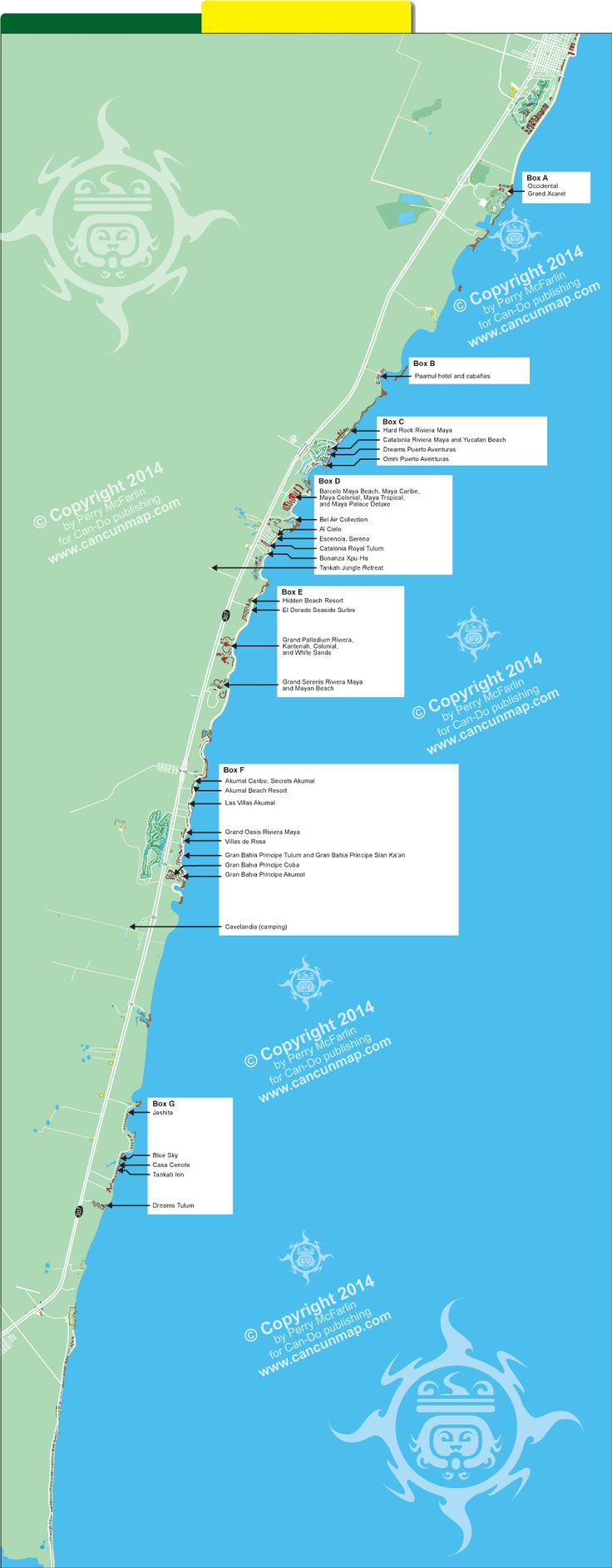 Map of Riviera Maya hotel locations
