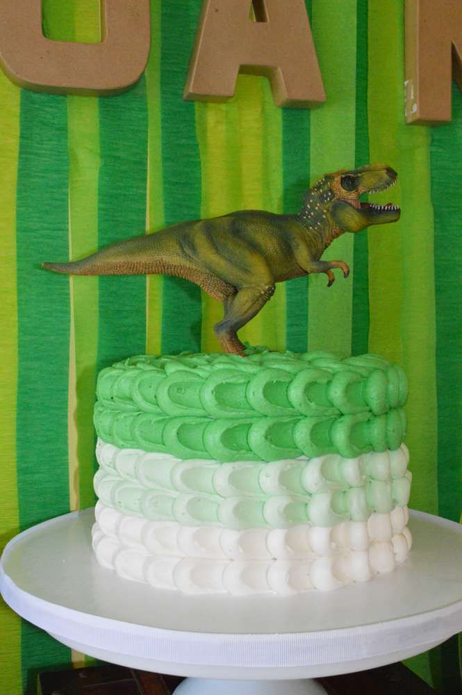 Ombre cake at a dinosaur birthday party! See more party planning ideas at CatchMyParty.com!