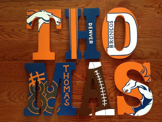 Hand-Painted Personalized letters to match Denver Broncos NFL football team - or any team!  By: Sweet Dreams Letters: https://www.etsy.com/shop/SweetDreamsLetters