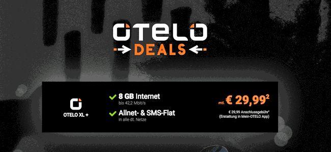 Deal Otelo Allnet Flat XL 2017 Aktion mit Smartphone von Apple , Samsung oder Huawei ab 4,95 Euro zum Vertrag mit 8 GB LTE Internet-Flat mit bis 42,2 Mbit/s  , Telefon Allnet Flat und einer SMS-Flat ins dt. Mobilfunknetz mit 29,99€ Grundgebühr im Netz von Vodafone.