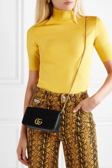 fd2fabe4b Gucci | GG Marmont micro quilted velvet and textured-leather shoulder bag |  NET-A-PORTER.COM